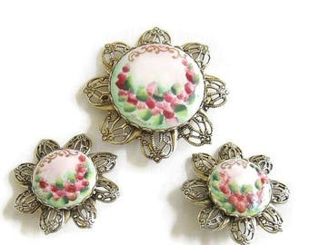 Handpainted Filigree Brooch and Earrings Set signed Soft Pink, Green and Red Roses Floral Vintage