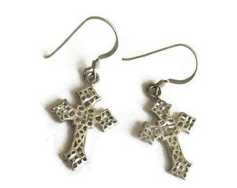 Silver Tone Cross Earrings Vintage Dangle Pierced Metal