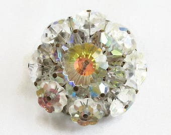 Margarita Crystals Brooch Vintage Hand Wired Aurora Borealis