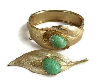 SALE Green Art Glass Cabochon Leaf Bracelet & Brooch Set Vintage