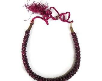 SALE Braided Garnet Bead Necklace Vintage