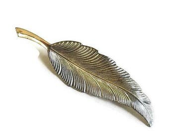 SALE Sterling Silver Leaf Brooch Vintage Textured and Smooth