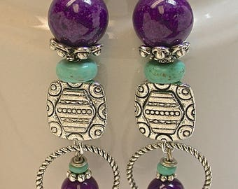 Vintage Chinese Turquoise Bead Dangle Earrings,Vintage German Purple Glass Beads,Silver Plated Beads,Silver Plated Hoops -GIFT WRAPPED