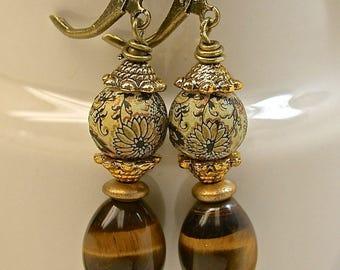 Vintage Tigereye Bead AAA Grade Dangle Drop Earrings,Vintage Japanese Tensha Beads White,Black,Gold ,Antiqued Brass Leverback Ear Wires