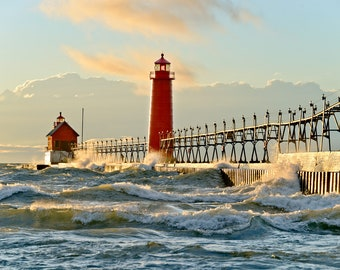 Grand Haven Lighthouse - Michigan Photography - Stock Photography