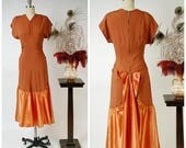 FLASH SALE Vintage 1940s Dress - Spring 2018 Lookbook - Alluring Burnt Umber Rayon Crepe 40s Dress with Ruched Hips and Satin Bustle Back