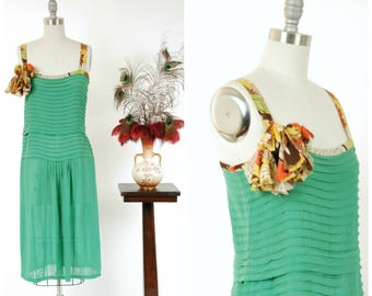 Vintage 1920s Dress - Gorgeous Semi-Sheer Green Silk Drop Waist Day Dress Restored with 30s Floral Trim