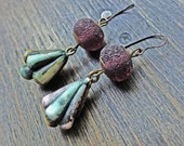"""Handmade artisan earrings with rustic polymer clay and lampwork art beads by fancifuldevices -""""Juvenescent"""""""