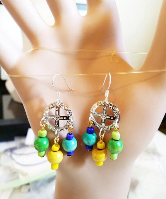 circle cross  bead drop chandelier earrings drop dangles wood blue yellow green glass beads charm jewelry