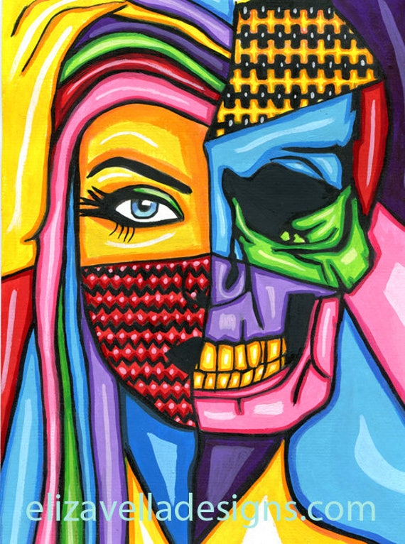 half skull half womans face abstract pop original art painting colorful modern human anatomy art goth skeleton pop artwork day of the dead
