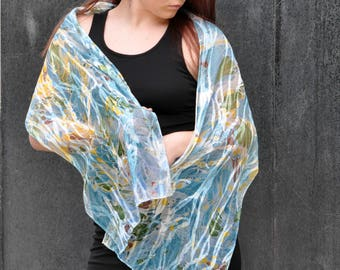 Hand Painted Silk Scarf Turquoise, Brown, Green and Yellow MM-#10-4816