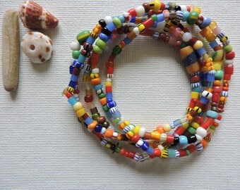 Africa -  Ghana trade beads - set of 5 stretch bracelets- simple, colorful stack - small  Christmas bead stretchies
