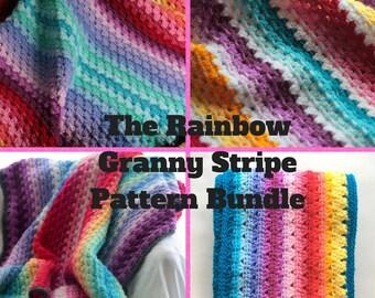 Rainbow Granny Stripe Pattern set, Crochet blanket and Scarf patterns, crochet baby blanket pattern