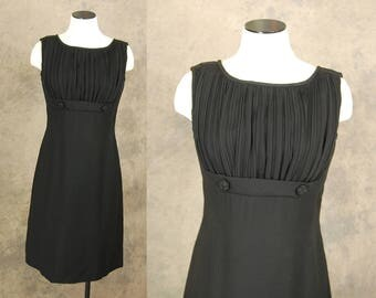vintage 60s Dress - Mod Little Black Dress LBD - 1960s Pleated Bust Mini Dress Party Dress Sz M
