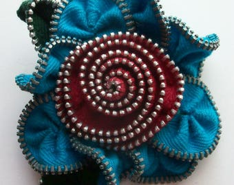 Turquoise / Teal and Cranberry Floral Brooch / Zipper Pin by ZipPinning 3094
