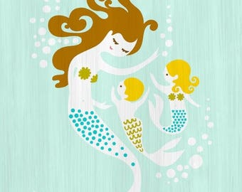 "SUMMER SALE 5X7"" mermaid mother and baby boy and girl giclee print on fine art paper. turquoise, green, brunette, blonde."