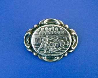 "Vintage Bullfight Pin Brooch Silver Metal Raised People & Bull 2 "" by 1 5/8 """
