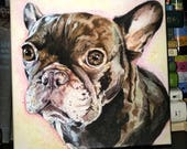 """Custom Watercolor Pet Portrait From Photo - 12"""" x 12"""" Stretched Canvas"""