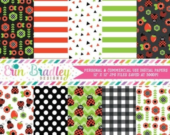 50% OFF SALE Ladybug Digital Paper Pack with Red Green & Black Floral and Striped Patterns