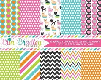 80% OFF SALE Cats Digital Paper Pack Commercial Use Instant Download
