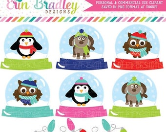 80% OFF SALE Animal Snow Globe Clipart, Holiday Clip Art Graphics, Christmas Clipart, Winter Clip Art