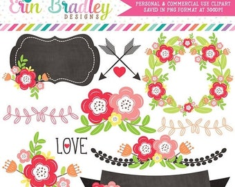 80% OFF SALE Floral Clipart Laurel Wreath Flowers Arrows Labels & More Instant Download Commercial Use Clip Art Digital Graphics