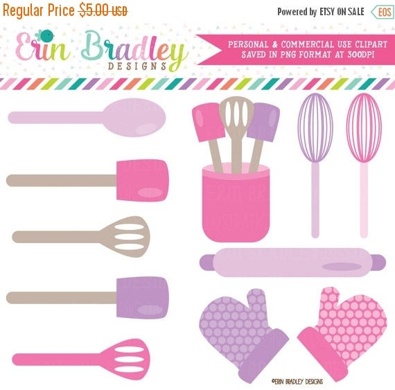 BLACK FRIDAY SALE Baking Kitchen Clipart Graphics Pink