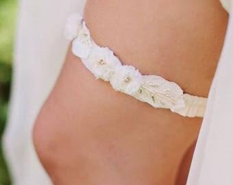 Rustic Frayed Flower Garter Boho Bridal Vintage Beaded Bridal Garter - Beige, Ivory,