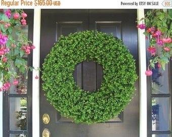 SUMMER WREATH SALE Xl Decor Boxwood Holiday Wreath, Outdoor Christmas Wreath, Extra Large Boxwood Wreath, Ceremony Decor, Outdoor Spri