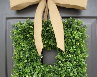 SUMMER WREATH SALE Square Artificial Boxwood Wreath with Burlap Ribbon 14-24 inch sizes available, Wedding Decoration