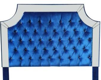 Royal Blue Velvet Tufted Headboard Upholstered Headboard with Mirrors Headboard with mirrors blue velvet tufted headboard Royal Blue Velvet