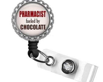 Badge Reel, ID Badge Holder, Pharmacist Tech Gifts, Pharmacist Badge, Pharmacy, Nurse Lanyard, Medical Badge, Chocolate Lover, Funny Gifts