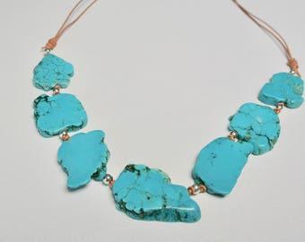 Turquoise necklace, Turquoise jewelry, Turquoise beads, Leather necklace, cowgirl, Southwestern , Southwestern style, Sundance, OOAK jewelry