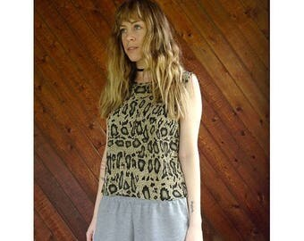 15% Memorial Day Wknd ... Snake Print Accordion Tank Blouse - Vintage 90s - S/M