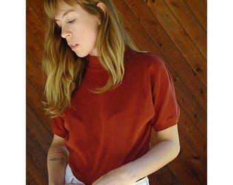 20% off SUMMER SALE. . . Rust Red Hi Neck s/s Top - Vintage 90s - S/M