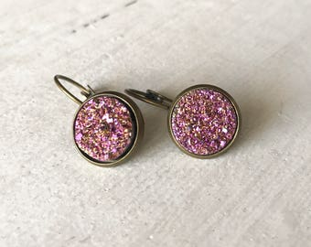 12mm faux druzy earrings, 12mm gold pink leverback cabochon, rose gold druzy earrings, 12mm rose gold druzy, 12mm cabochon