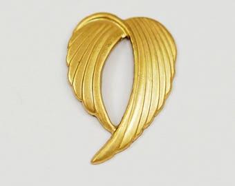 2 Vintage Brass Wings 32x22 Mm