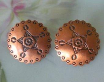 Vintage Copper Earrings Fred Harvey Era Etched Designs REDSKIN MAID Screw Back Earrings