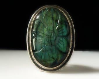 labradorite ring-sterling silver ring- flower ring-statement ring-silver flower ring-labradorite jewelry-blue labradorite-flower jewelry