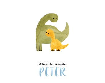 Printable custom baby announcement with a cute dinosaur illustration