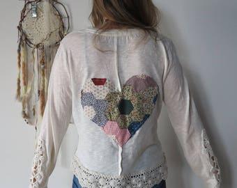 Patchwork Heart Lace Crochet Top Shirt Tee Size XL