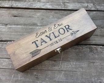 Wine box - wedding wine box - ceremony wine box - anniversary wine box - custom engraved wood wine box - personalized wedding gift - arrow