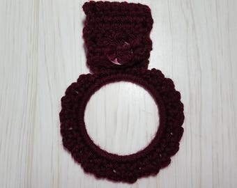 Towel Holder Crocheted Ring Maroon