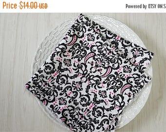 SALE Cloth Napkins Damask Black White Pink Set of 4