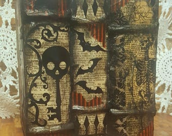 Vintage Style Halloween Books Tissue Box Cover #5....Unique Layered Skeletons, Bats, Trees, Skulls