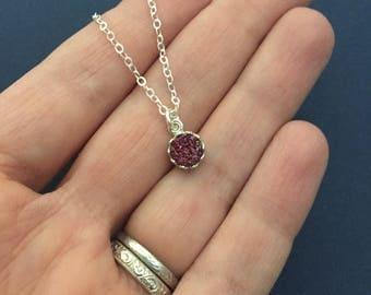 Genuine Plum Druzy Necklace in Victorian Style Bezel in Sterling Silver - Drusy Pendant - Minimalist Dainty Necklace