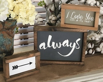 Love Signs | I Love You With All My Heart | Always Sign | Arrow Sign | Romantic Sign | Farmhouse Decor | Cottage Signs | Wood Signs | Signs