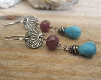 Blue Turquoise, Red Ruby Earrings, Wire Wrap Gemstone Jewelry, December Birthstone Earrings, Oxidized Silver Dangle, Western Style