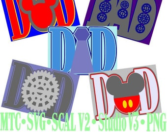 Card Word DAD Bundle of 5 Cut Files MTC SvG SCAL Format and more traceable
