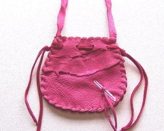 Beautiful Leather Medicine Bag / NECK BAG ..Pink..OOOOOPSY
